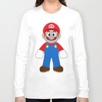 sticker Long Sleeve T-shirts featuring Sticker Mario by Rebekhaart