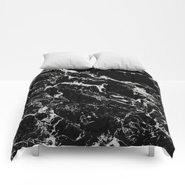 Modern silver black marble pattern Comforters