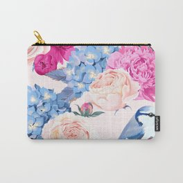 Magenta Periwinkle Pastel Rose With Blue Jays Carry-All Pouch