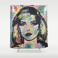 blondie Shower Curtains featuring Screaming Skin by Matt Pecson