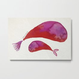 Mamma whale and baby whale Metal Print