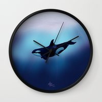 biology Wall Clocks featuring Lost in Fantasy ~ Orca ~ Killer Whale by Amber Marine