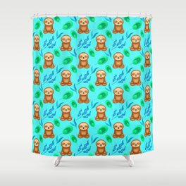 Funny cute sloths, tropical rainforest exotic green blue leaves pattern design. Sloth gift ideas Shower Curtain