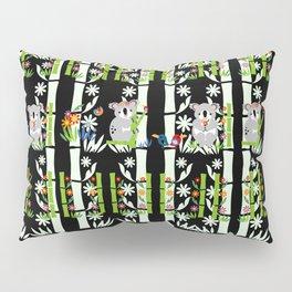 Cute pair of Koalas - Black Pillow Sham