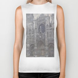 The Cathedral in Rouen. The portal, Grey Weather. by Claude Monet Biker Tank