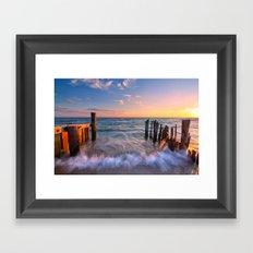 Rushing Waves at Sunset Framed Art Print