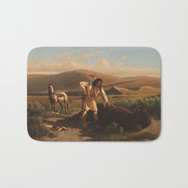Buffalo Hunt by William de la Montagne Cary Bath Mat