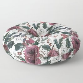 Festive Red Floral Arrangement in Soft Muted Tones on White  Floor Pillow