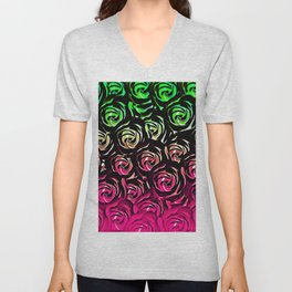 rose pattern texture abstract background in pink and green Unisex V-Neck