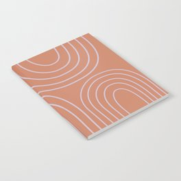 Minimalist Curved Lines and Shapes in Rust and Lilac Notebook