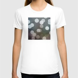 Charcoal Gray and Cream Bokeh Dots Pattern T-shirt