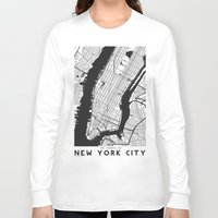 new york map Long Sleeve T-shirts featuring New York City map by Studio Tesouro