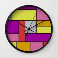 mondrian Wall Clocks featuring Mondrian #6 by Ron Trickett