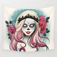 dia de los muertos Wall Tapestries featuring ¡Dia de los Muertos! by Tati Ferrigno