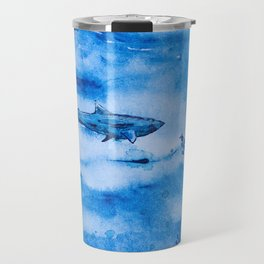 Great white in blue Travel Mug