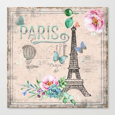 Paris - my love - France Nostalgy- pink French Vintage Canvas Print