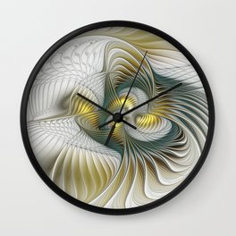 Noble And Golden, Abstract Modern Fractal Art Wall Clock