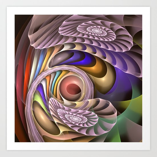 In Motion, colourful fractal abstract Art Print