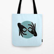 Sign Language (ASL) Interpreter – Black on Turquoise 03 Tote Bag