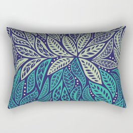 Polynesian floral blue purple tattoo design Rectangular Pillow