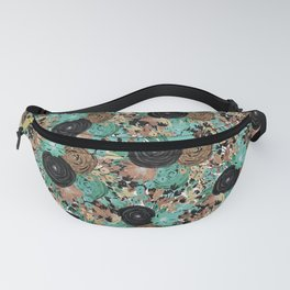 Black Brown and Teal Watercolor Floral Fanny Pack