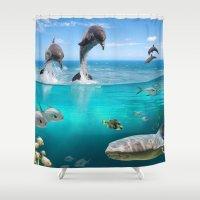 wildlife Shower Curtains featuring Marine Wildlife by FantasyArtDesigns