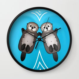Otters Holding Hands - Otter Couple Wall Clock