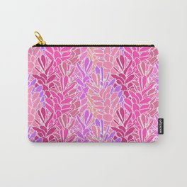 Tropical Ginger Blossom Vines in Pink + Coral Carry-All Pouch