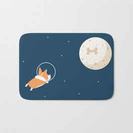 Fly to the moon _ navy blue version Bath Mat