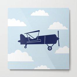 Biplane Blue Metal Print
