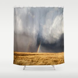 Follow the Rainbow - Bright Rainbow Between Storm Clouds Shower Curtain