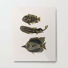 Fantastical Fish 1 - Black and Gold Metal Print