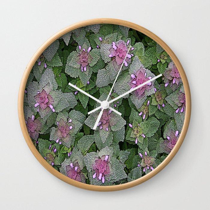 Wild Salvia Mauve And Gray Green Wall Clock