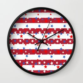 Star Spangled Red and White Stripes Wall Clock