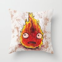 calcifer Throw Pillows featuring Burning Calcifer by KeithKarloff