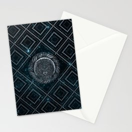 Leo Zodiac Silver Embossed on the Star sky Stationery Cards