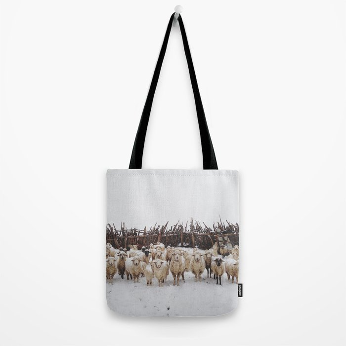 Snowy Sheep Stare Tote Bag