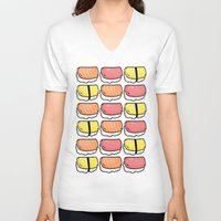 sushi V-neck T-shirts featuring Sushi by ocamixn