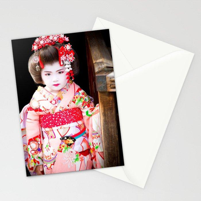 Japanese geisha girl Stationery Cards