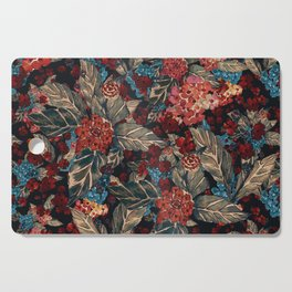 Deep moody floral watercolor - dark red,  rich dark blue and brown Cutting Board
