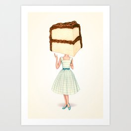 Cake Head Pin-Up - Chocolate Art Print
