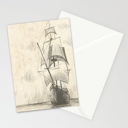 Vintage hand drawn galleon background Stationery Cards