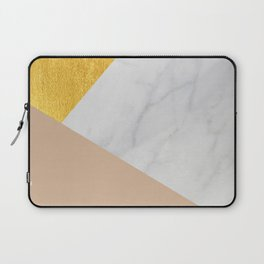 Carrara Marble with Gold and Pantone Hazelnut Color Laptop Sleeve