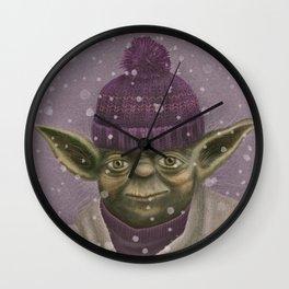 Christmas Yoda (fiolet) Wall Clock