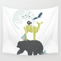 wildlife Wall Tapestries featuring Wildlife Totem by Brooke Witt