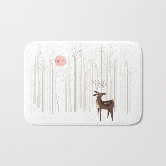 Reindeer of the Silver Wood Bath Mat