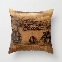 Map Of Curacao 1800 Throw Pillow