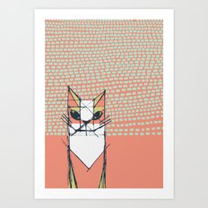 Cubist Cat Study #7 by Friztin Art Print