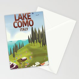 Lake Como Italy travel poster Stationery Cards