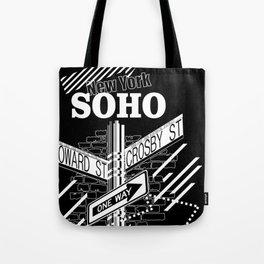 SoHo, New York Streets- white on black Tote Bag